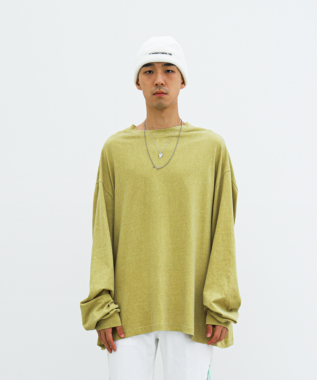 BOX LONGSLEEVE CHINDOWN PRINTED (BABY OLIVE)