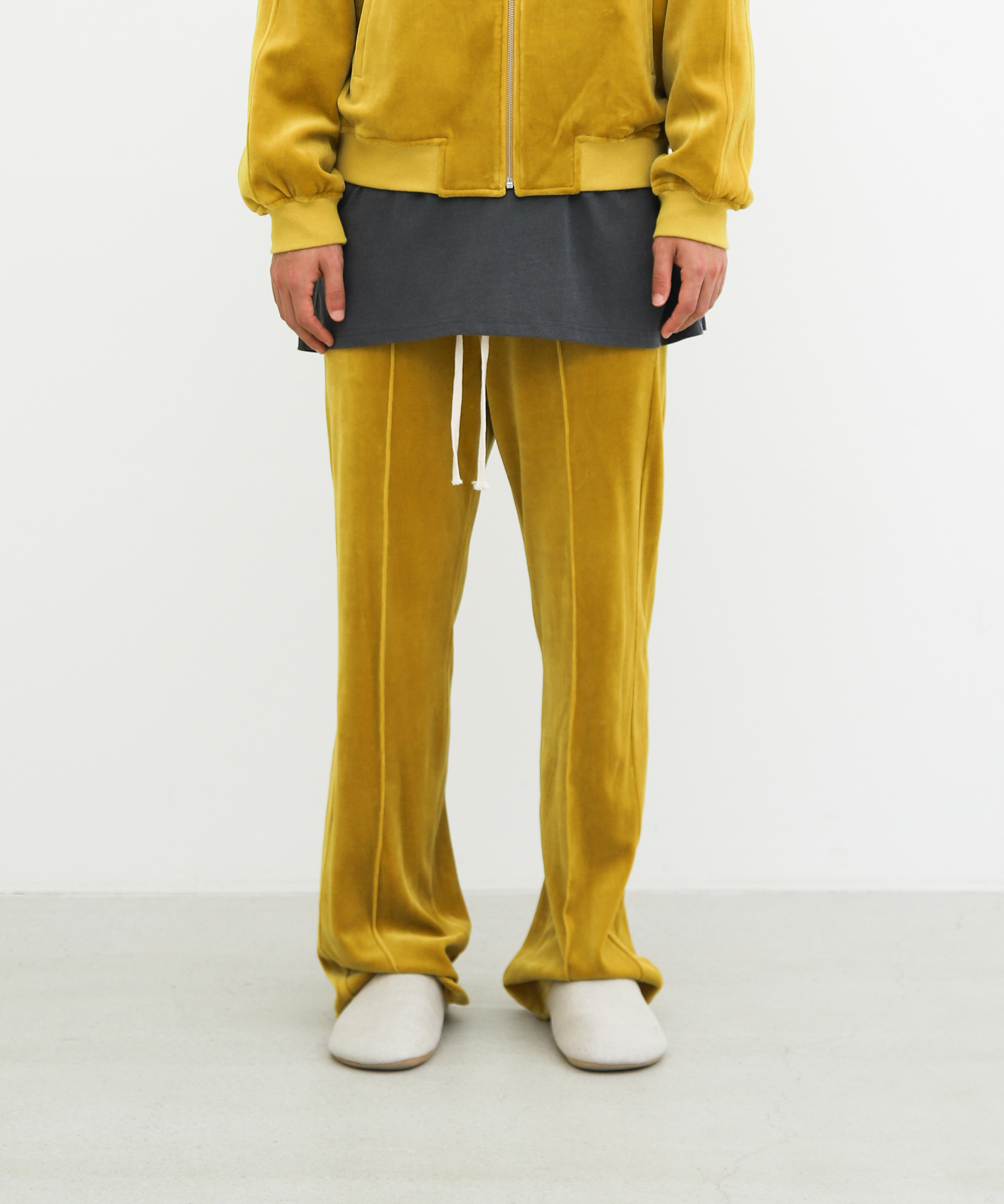 LONG VELVET TRACK TROUSERS (MUSTARD YELLOW)