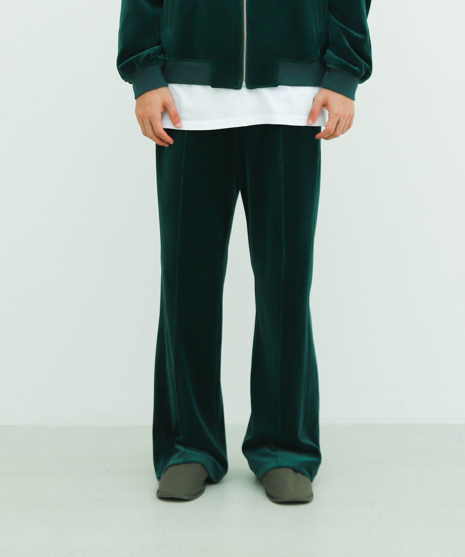 LONG VELVET TRACK TROUSERS (FOREST GREEN)